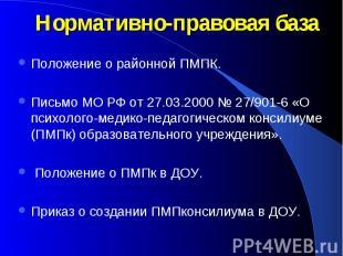Нормативно-правовая базаПоложение о районной ПМПК. Письмо МО РФ от 27.03.2000 №