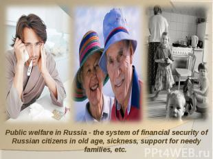 Public welfare in Russia - the system of financial security of Russian citizens