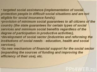targeted social assistance (implementation of social protection people in diffic