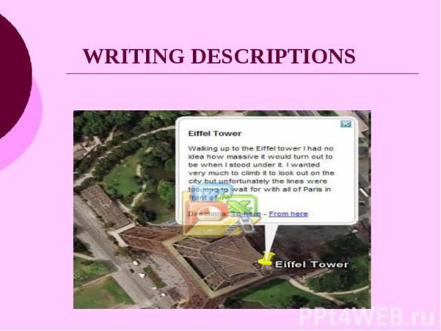 WRITING DESCRIPTIONS
