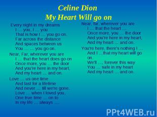 Celine Dion My Heart Will go on Every night in my dreams I … you, I … you That i
