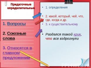 Придаточные определительные1. Вопросы 2. Союзные слова 3. Относятся в главном пр