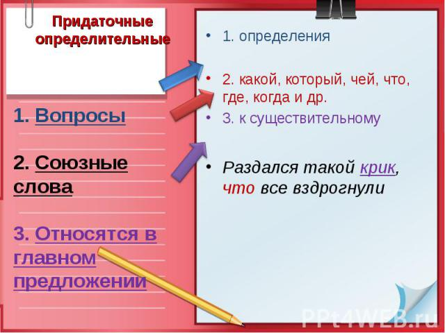 Придаточные определительные1. Вопросы 2. Союзные слова 3. Относятся в главном предложении 1. определения 2. какой, который, чей, что, где, когда и др. 3. к существительному Раздался такой крик, что все вздрогнули