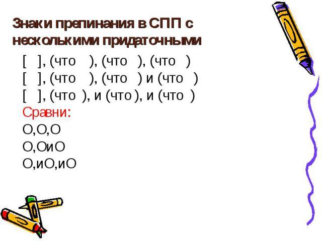 Знаки препинания в СПП с несколькими придаточными [ ], (что ), (что ), (что ) [ ], (что ), (что ) и (что ) [ ], (что ), и (что ), и (что ) Сравни: Ο,Ο,Ο Ο,ΟиΟ Ο,иΟ,иΟ
