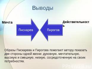 Выводы Образы Пискарева и Пирогова помогают автору показать две стороны одной жи