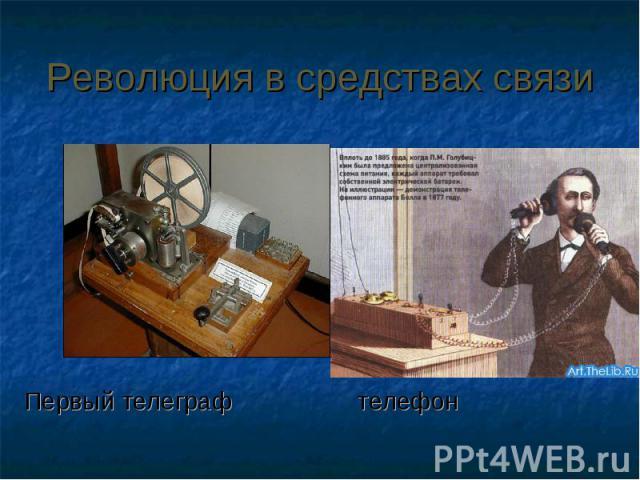 Революция в средствах связиПервый телеграф телефон