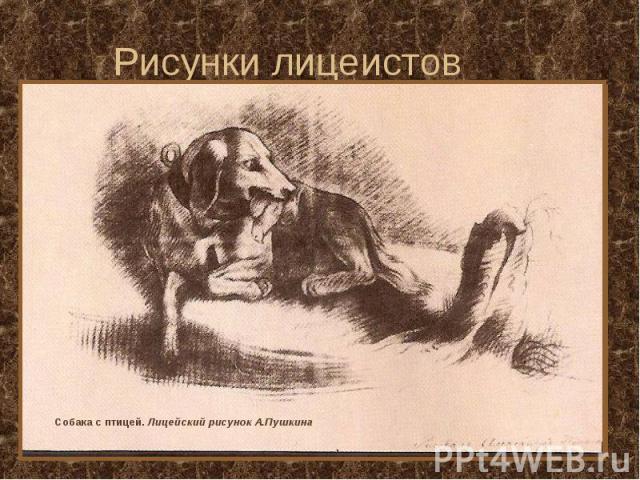 Рисунки лицеистов Собака с птицей. Лицейский рисунок А.Пушкина