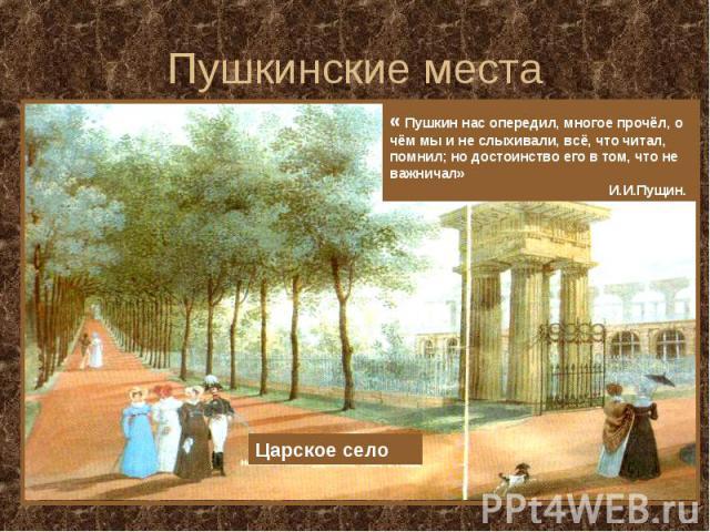 Пушкинские места « Пушкин нас опередил, многое прочёл, о чём мы и не слыхивали, всё, что читал, помнил; но достоинство его в том, что не важничал» И.И.Пущин. Царское село