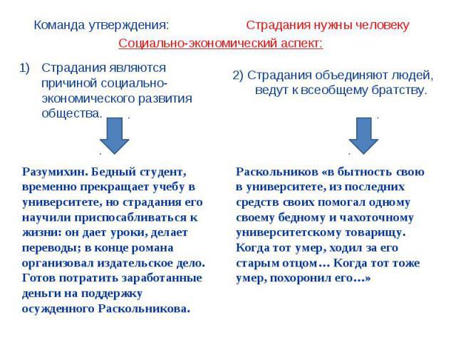 Социально-экономический аспект: Страдания являются причиной социально-экономического развития общества. Разумихин. Бедный студент, временно прекращает учебу в университете, но страдания его научили приспосабливаться к жизни: он дает уроки, делает пе…