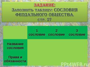 ЗАДАНИЕ: Заполнить таблицу: СОСЛОВИЯ ФЕОДАЛЬНОГО ОБЩЕСТВА. стр. 27