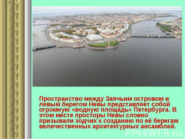 Пространство между Заячьим островом и левым берегом Невы представляет собой огромную «водную площадь» Петербурга. В этом месте просторы Невы словно призывали зодчих к созданию по её берегам величественных архитектурных ансамблей.