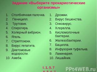 Задание «Выберите прокариотические организмы»