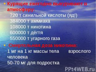 Курящие ежегодно выкуривают в атмосферу: 720 т синильной кислоты (яд!) 38400