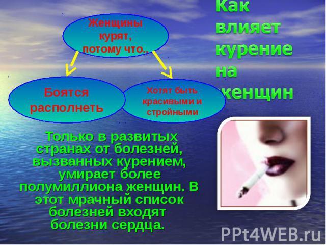 Как влияет курение на женщин Только в развитых странах от болезней, вызванных курением, умирает более полумиллиона женщин. В этот мрачный список болезней входят болезни сердца.