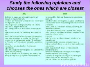 Study the following opinions and chooses the ones which are closest to your own