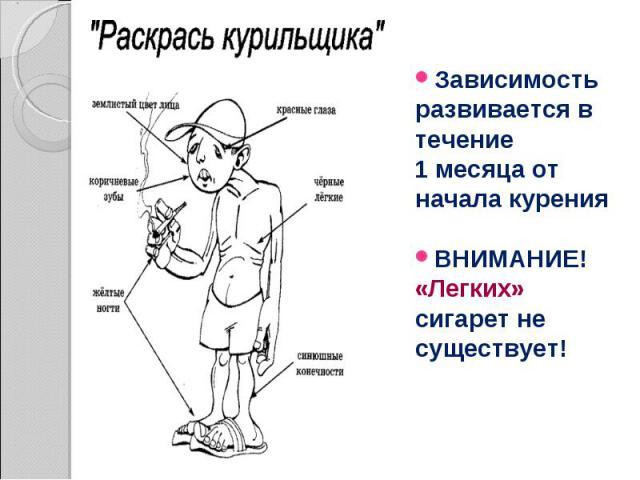 Зависимость развивается в течение 1 месяца от начала курения ВНИМАНИЕ! «Легких» сигарет не существует!