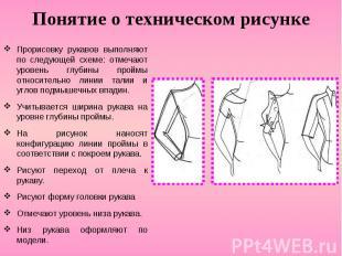 Понятие о техническом рисунке Прорисовку рукавов выполняют по следующей схеме: о