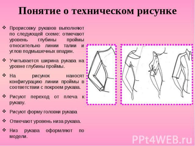 Понятие о техническом рисунке Прорисовку рукавов выполняют по следующей схеме: отмечают уровень глубины проймы относительно линии талии и углов подмышечных впадин. Учитывается ширина рукава на уровне глубины проймы. На рисунок наносят конфигурацию л…