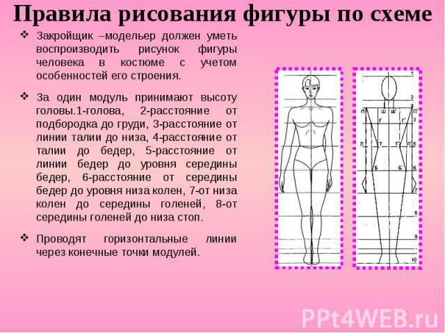 Правила рисования фигуры по схеме Закройщик –модельер должен уметь воспроизводить рисунок фигуры человека в костюме с учетом особенностей его строения. За один модуль принимают высоту головы.1-голова, 2-расстояние от подбородка до груди, 3-расстояни…