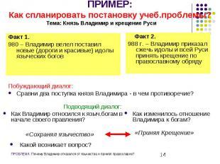 ПРИМЕР: Как спланировать постановку учеб.проблемы?Тема: Князь Владимир и крещени