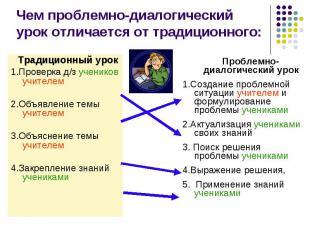 Чем проблемно-диалогический урок отличается от традиционного: Традиционный урок