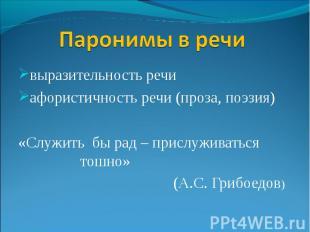 Паронимы в речи выразительность речи афористичность речи (проза, поэзия) «Служит