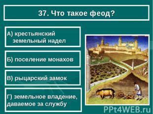 37. Что такое феод? А) крестьянский земельный надел Б) поселение монахов В) рыца