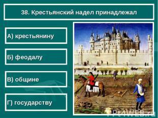 38. Крестьянский надел принадлежал А) крестьянину Б) феодалу В) общине Г) госуда