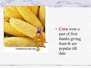Corn were a part of first thanks giving feast & are popular till date
