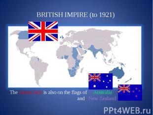 BRITISH IMPIRE (to 1921) The Union Jack is also on the flags of Australia and Ne