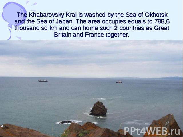 The Khabarovsky Krai is washed by the Sea of Okhotsk and the Sea of Japan. The area occupies equals to 788,6 thousand sq km and can home such 2 countries as Great Britain and France together.