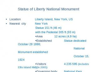 Statue of Liberty National Monument Location Liberty Island, New York, US Neares