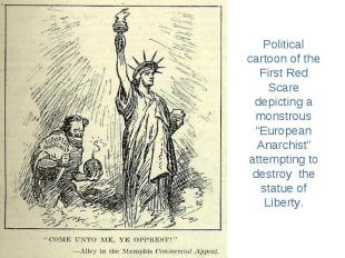 """Political cartoon of the First Red Scare depicting a monstrous """"European Anarchi"""