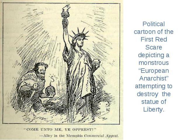 """Political cartoon of the First Red Scare depicting a monstrous """"European Anarchist"""" attempting to destroy the statue of Liberty."""
