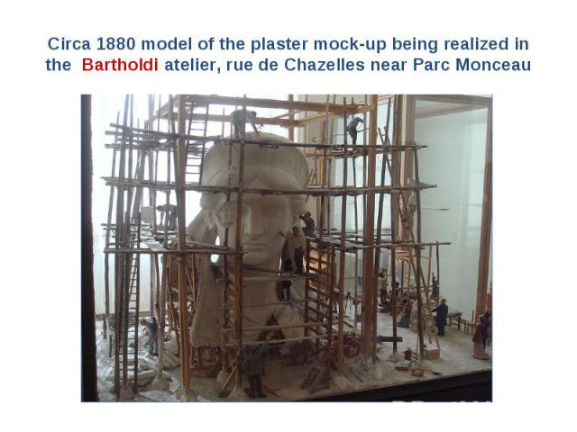 Circa 1880 model of the plaster mock-up being realized in the Bartholdi atelier, rue de Chazelles near Parc Monceau