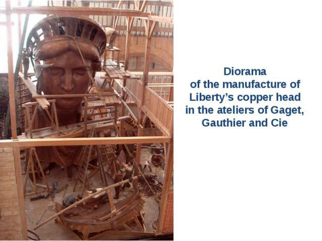 Diorama of the manufacture of Liberty's copper head in the ateliers of Gaget, Gauthier and Cie