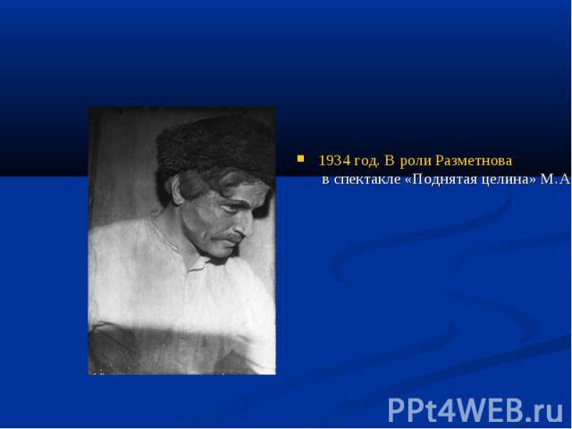 1934 год. В роли Разметнова в спектакле «Поднятая целина» М.А.Шолохова на сцене Государственного театра-студии под руководством Р.Н.Симонова.