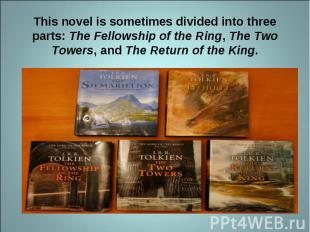 This novel is sometimes divided into three parts: The Fellowship of the Ring, Th