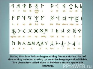During this time Tolkien began writing fantasy stories. Part of this writing inc