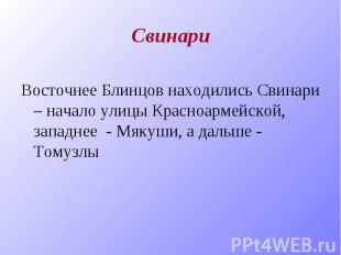 Свинари Восточнее Блинцов находились Свинари – начало улицы Красноармейской, зап