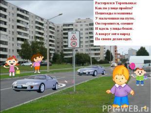 Растерялся Торопыжка: Как по улице пройти? Пешеходы и машины У мальчишки на пути