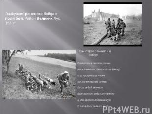 Эвакуация раненого бойца с поля боя. Район Великих Лук, 1943г Стёрлись в памяти