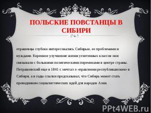 ПОЛЬСКИЕ ПОВСТАНЦЫ В СИБИРИПетрашевцы глубоко интересовались Сибирью, ее проблем