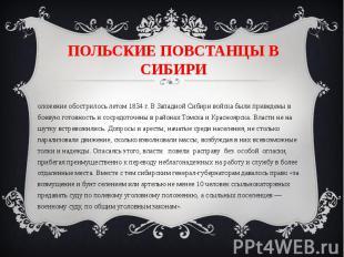 ПОЛЬСКИЕ ПОВСТАНЦЫ В СИБИРИ Положение обострилось летом 1834 г. В Западной Сибир