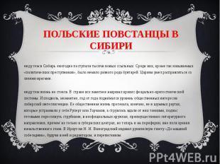 ПОЛЬСКИЕ ПОВСТАНЦЫ В СИБИРИ Между тем в Сибирь ежегодно поступали тысячи новых с