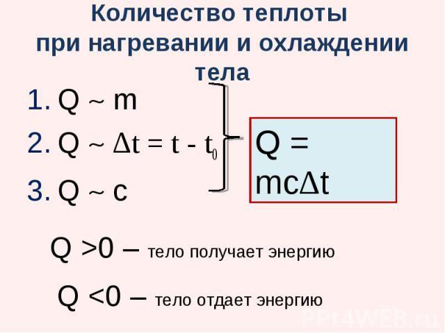 Количество теплоты при нагревании и охлаждении тела Q m Q ∆t = t - t0 Q c Q >0 – тело получает энергию Q