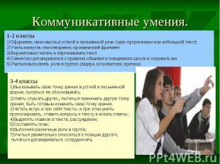 Коммуникативные умения. 1-2 классы 1)Оформлять свою мысль в устной и письменной