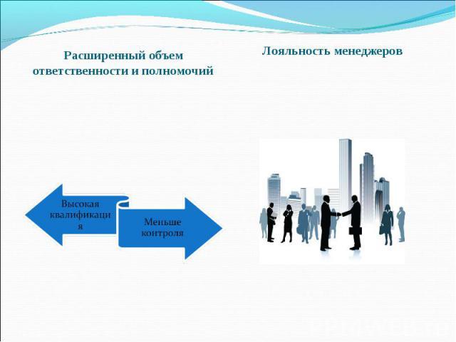 Расширенный объем ответственности и полномочий Лояльность менеджеров