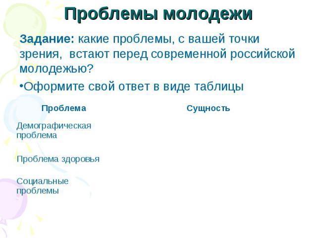 Проблемы молодежи Задание: какие проблемы, с вашей точки зрения, встают перед современной российской молодежью? Оформите свой ответ в виде таблицы