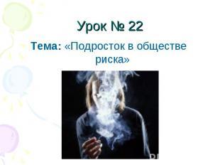 Урок № 22 Тема: «Подросток в обществе риска»